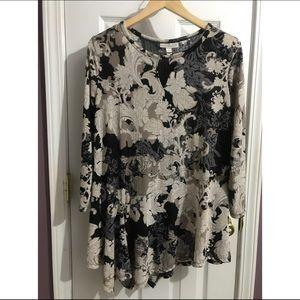 Danna Buchman Asymmetrical Blouse XL 3/4 sleeve